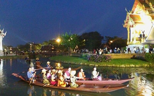 BKK ancient city at night boat ride