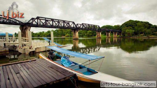 Kanchanaburi bridge on river kwai