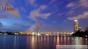 Bangkok , Rama 8 bridge in evening