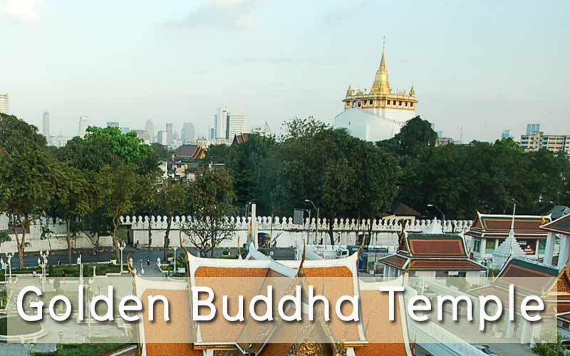 The Golden Mount Temple , top view of old Bangkok