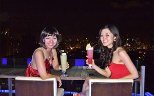 Night drink in sky bar